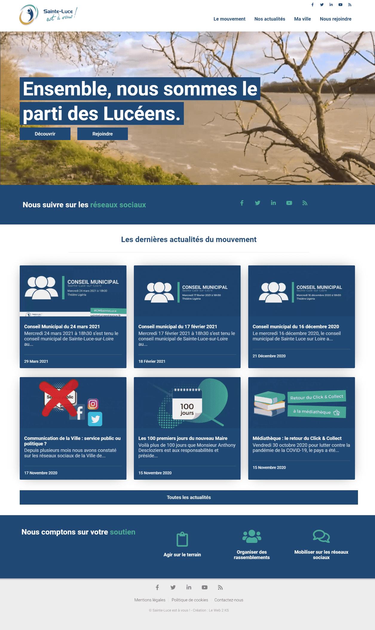 Page d'accueil du site de l'association Sainte-Luce est à vous