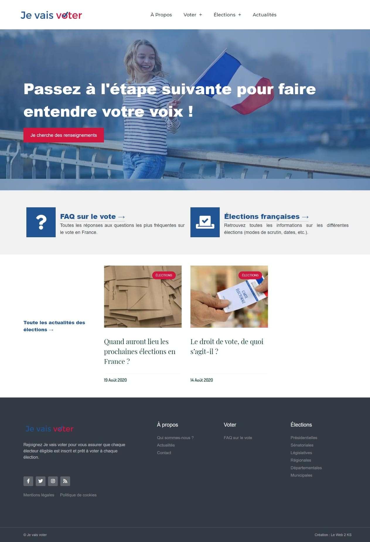 Page d'accueil du site internet Je vais voter