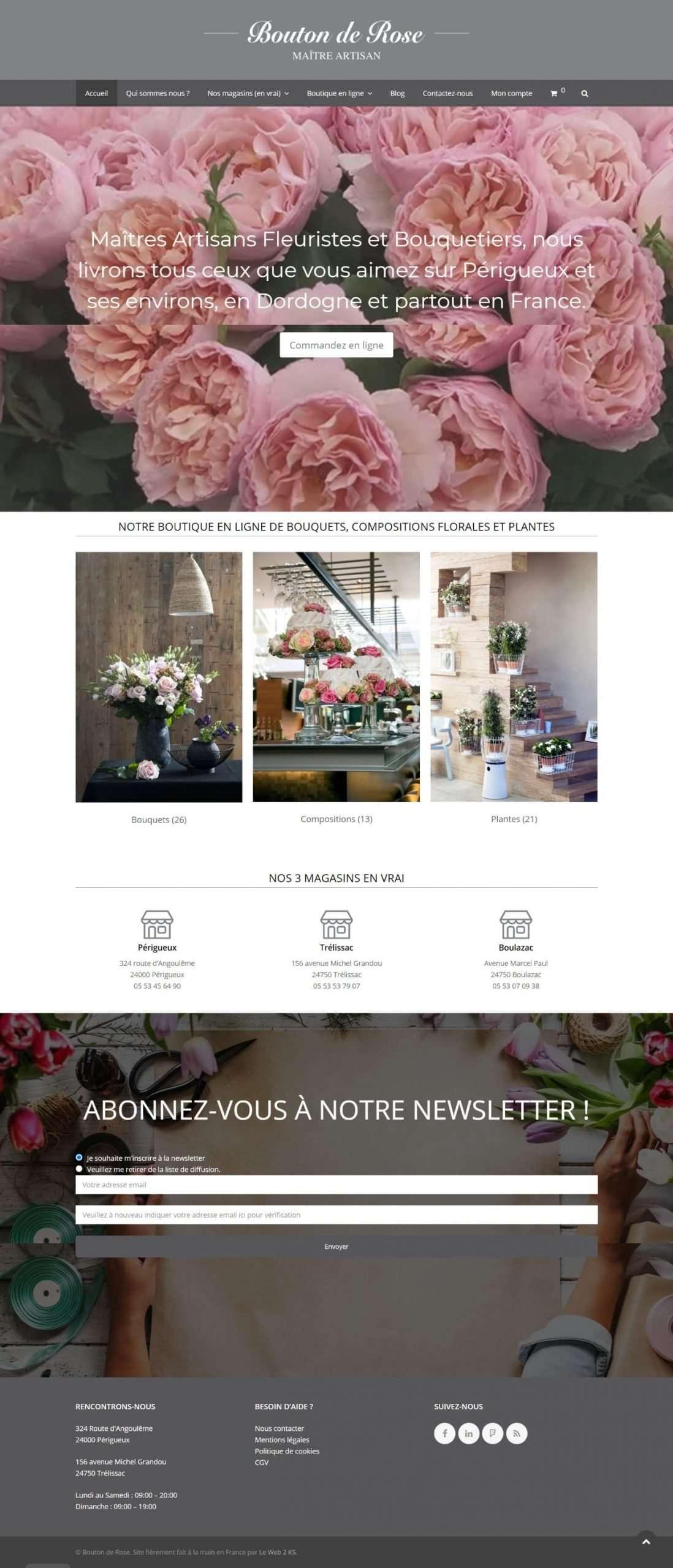 Page d'accueil du fleuriste Bouton de Rose à Périgueux