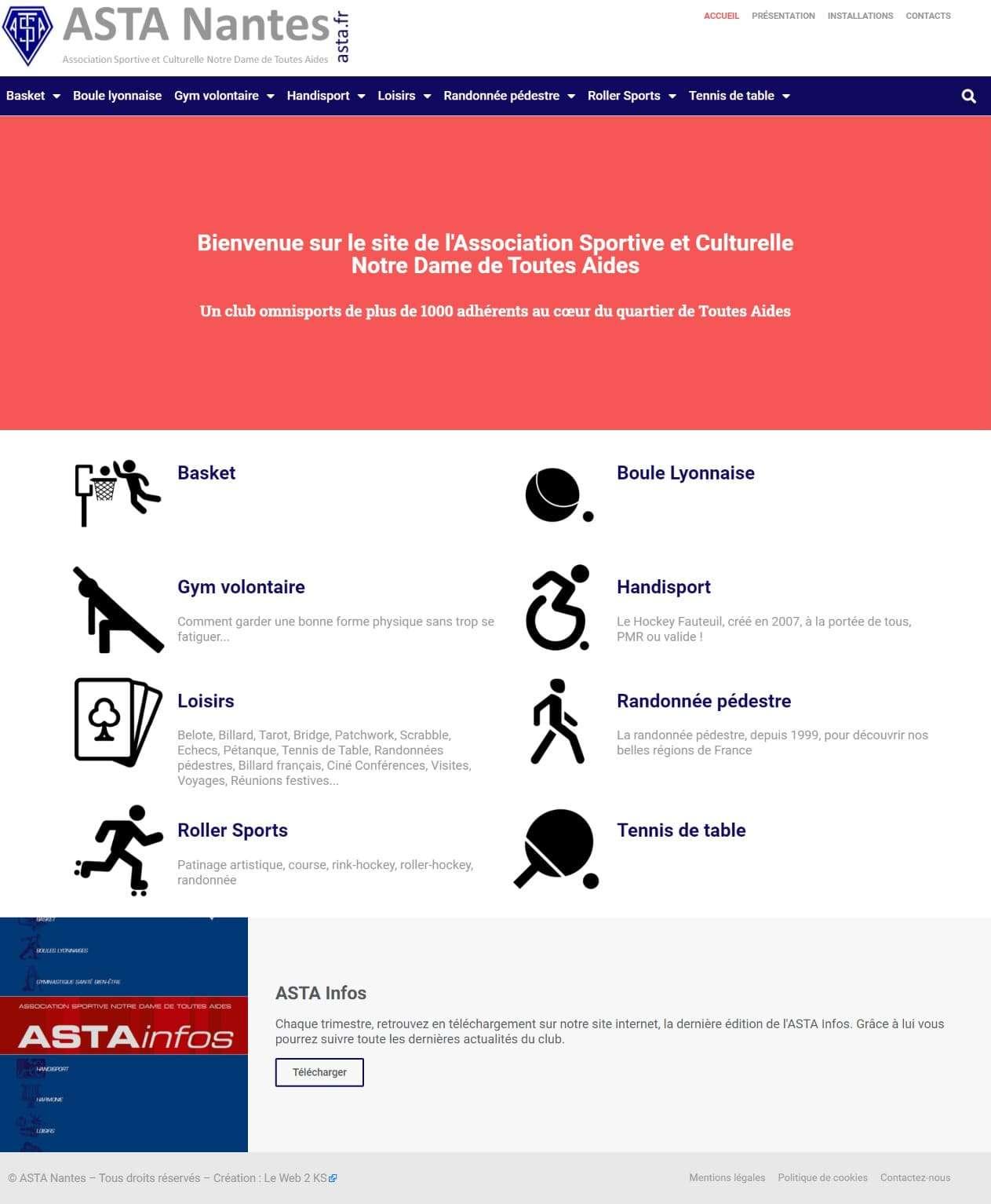 Page d'accueil du site de l'ASTA Nantes