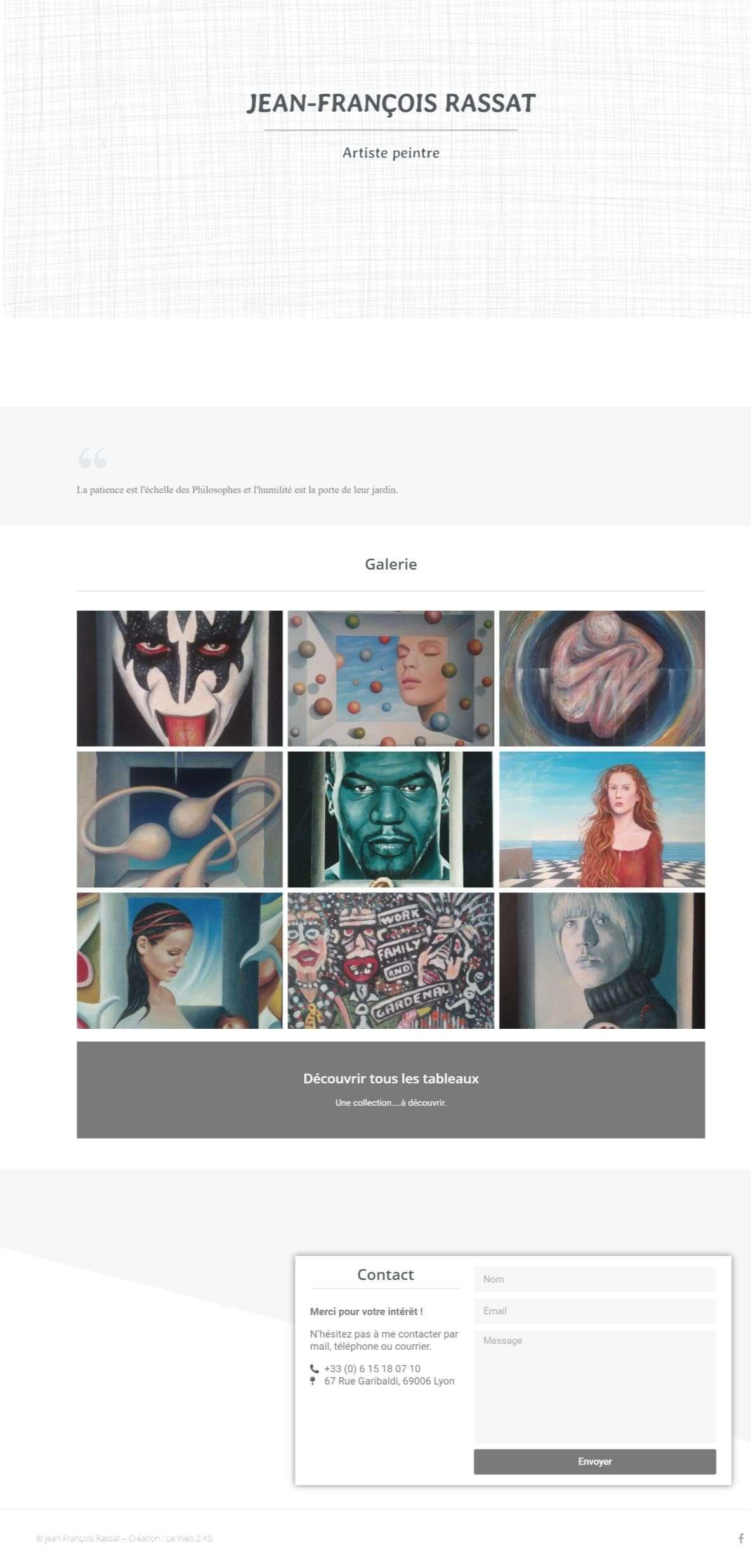 Page d'accueil du site de l'artiste peintre Jean-François Rassat