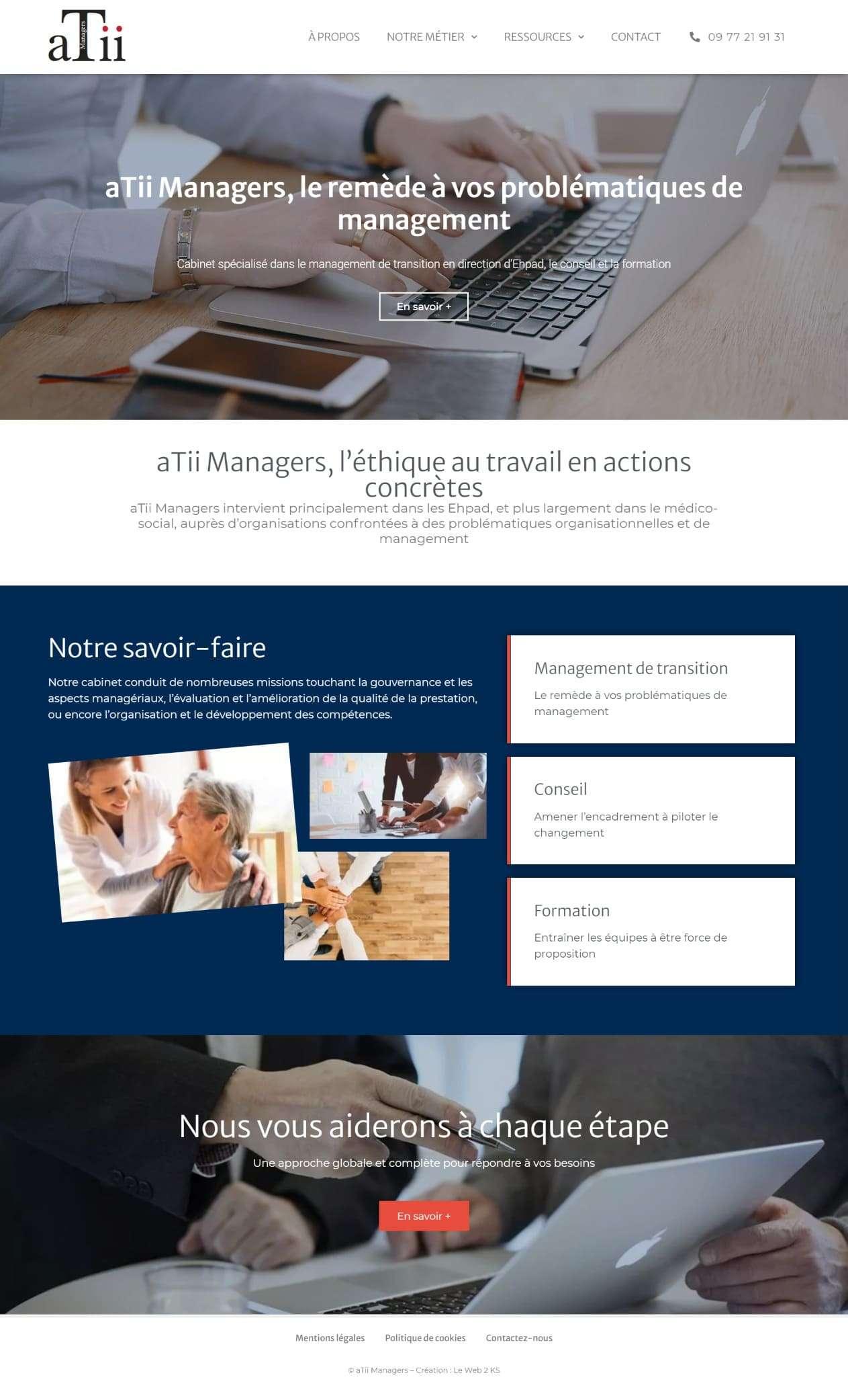 Page d'accueil du cabinet de management aTii Managers