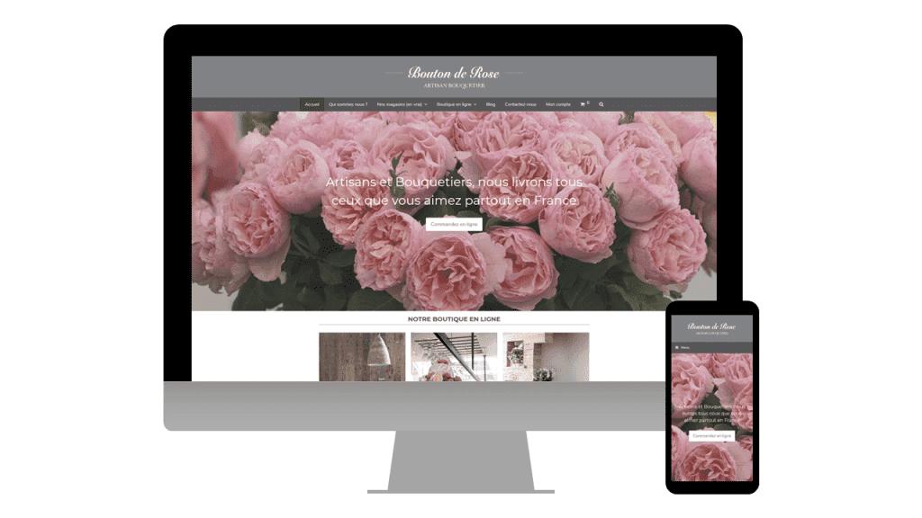 Site internet du fleuriste Bouton de Rose à Périgueux