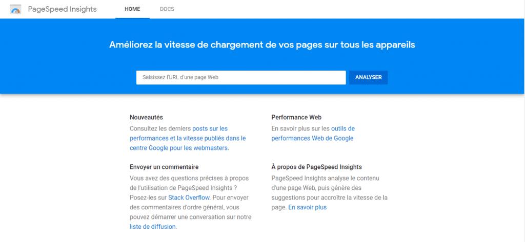 Capture d'écran e la page d'accueil de Google Page Speed Insights