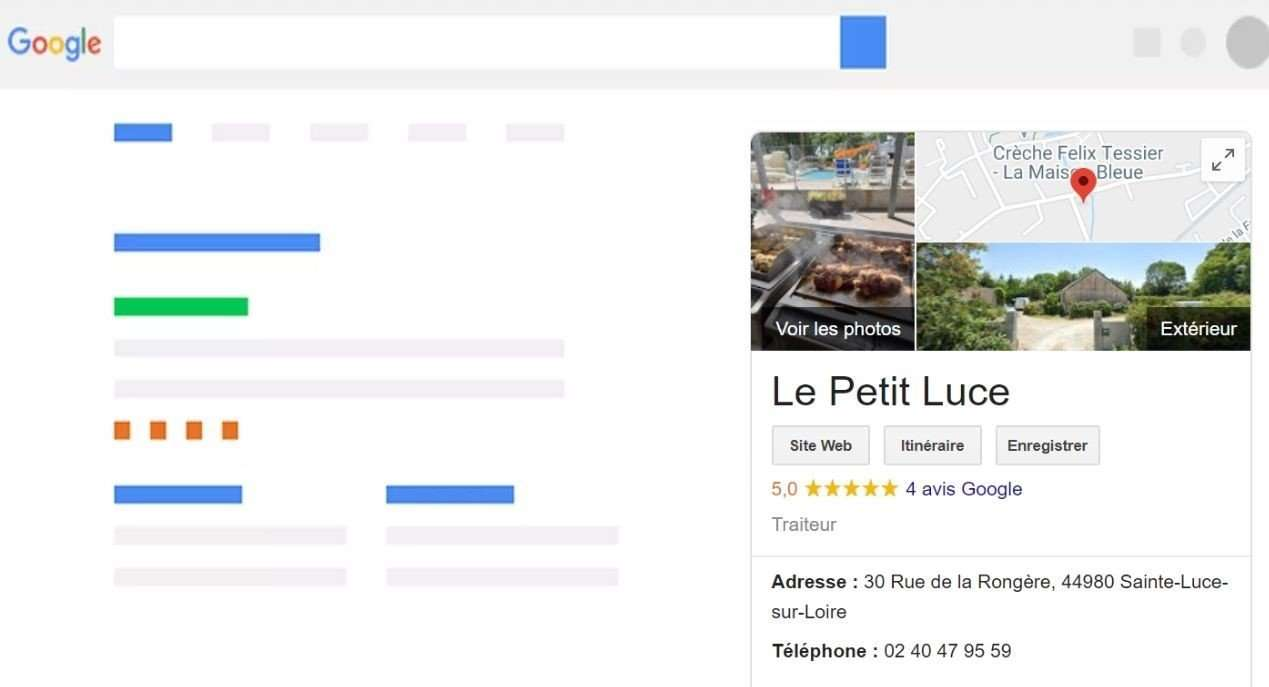 Exemple f'une fiche Google My Business