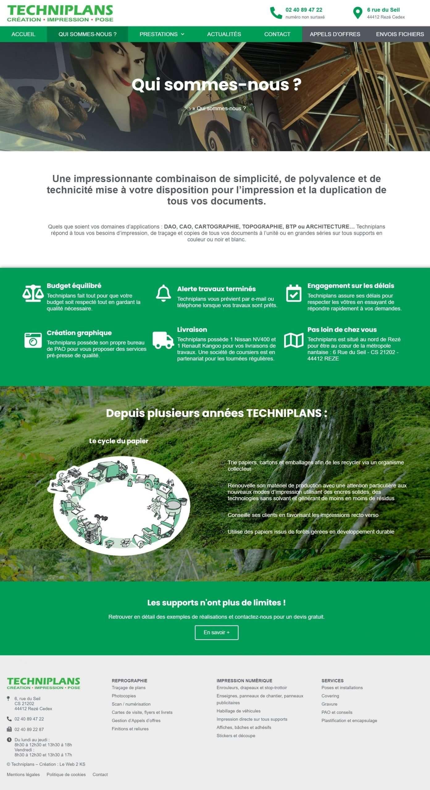 Page de présentation de l'entreprise Techniplans