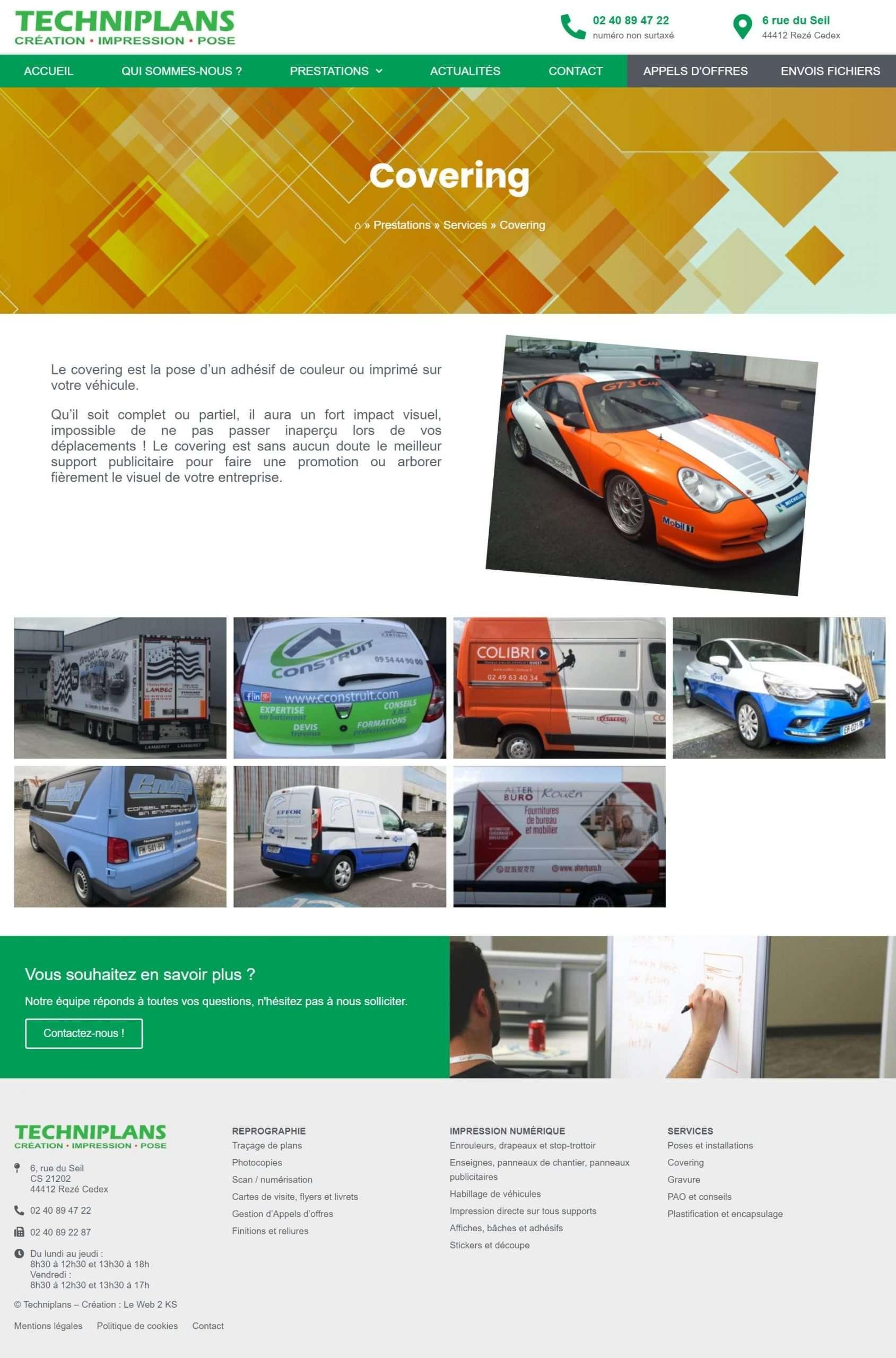 Page de présentation d'un prestation du site Techniplans