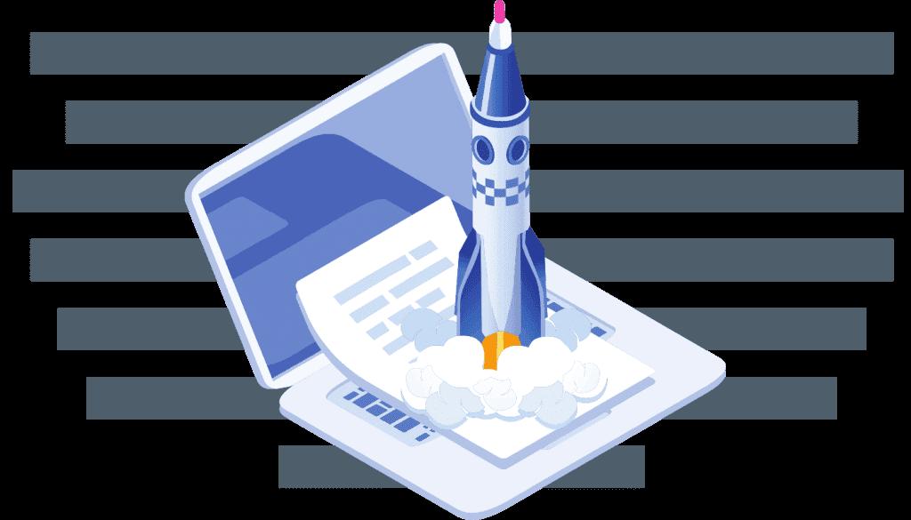 Décollage d'une fusée sur un ordinateur portable