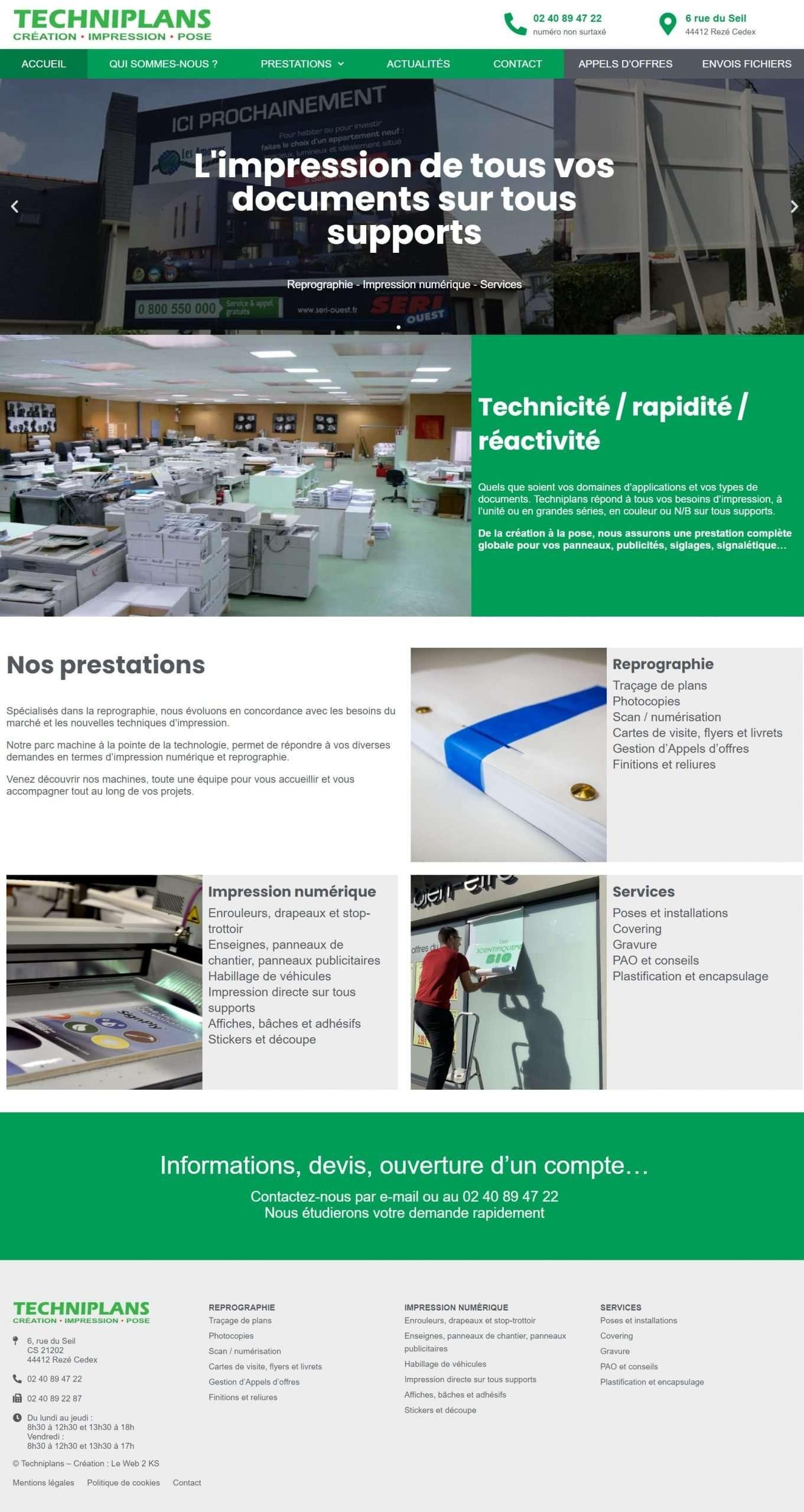 Page d'accueil de l'imprimeur Techniplans à Rezé